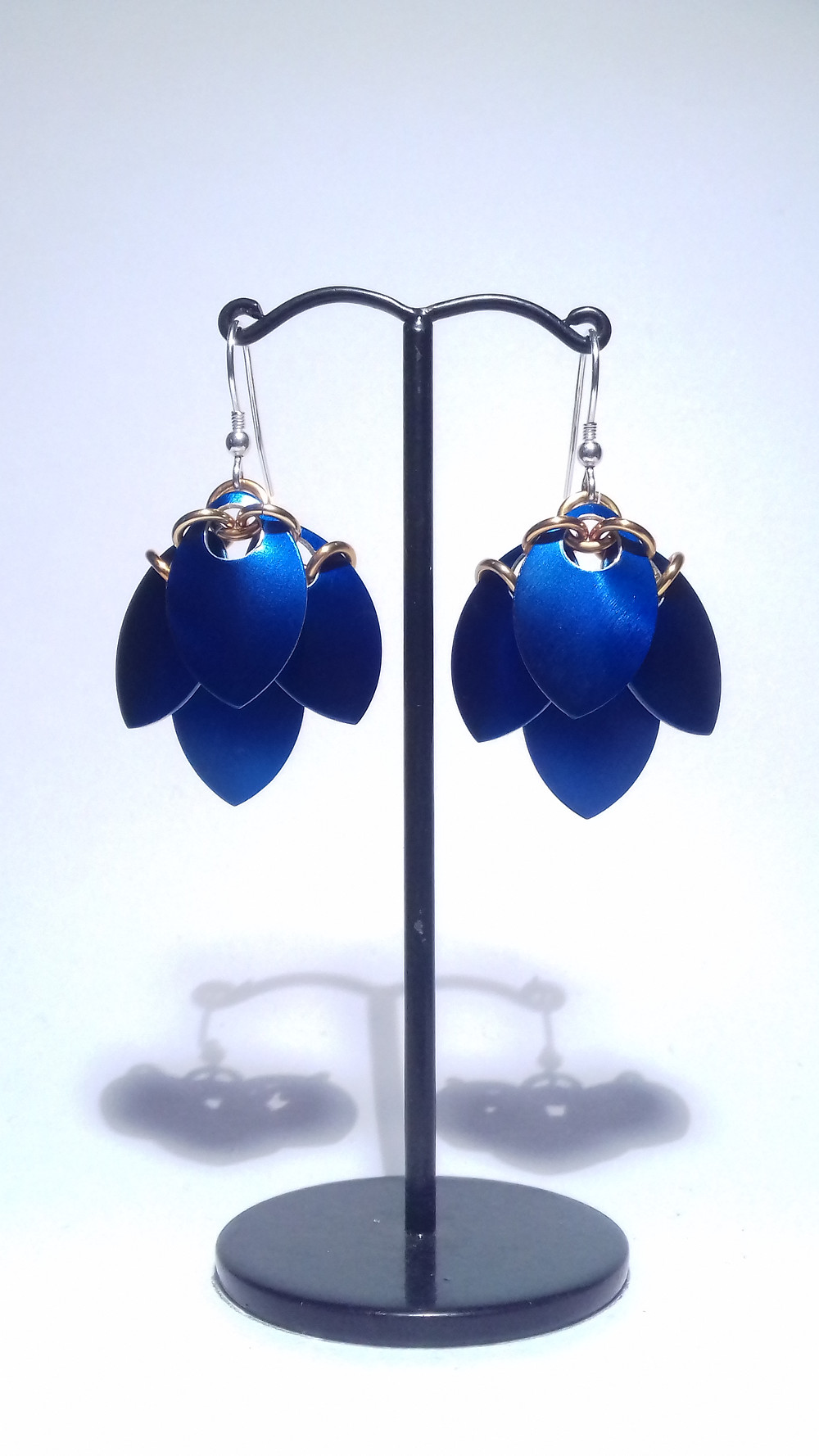 blue and gold scale earrings