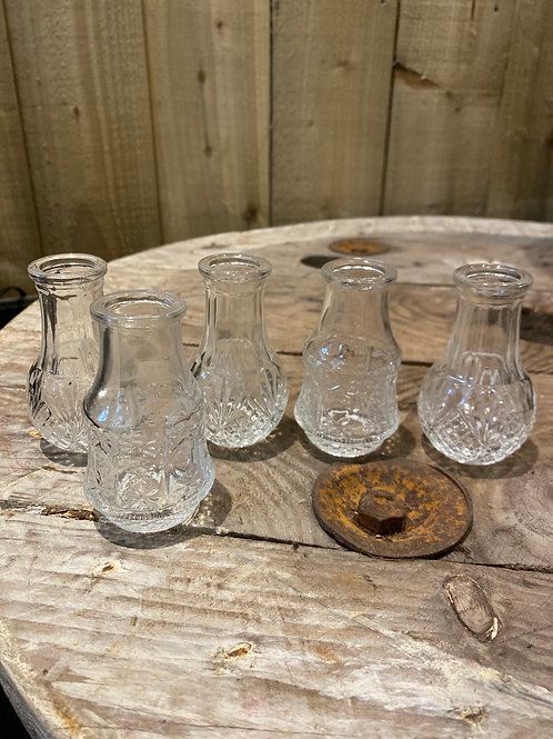 Cut Glass Bud Vase set of 5