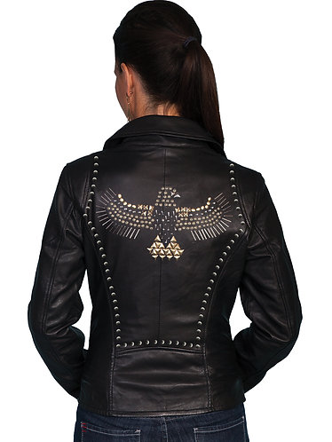 Scully Lamb Motorcycle Jacket with Studded Eagle