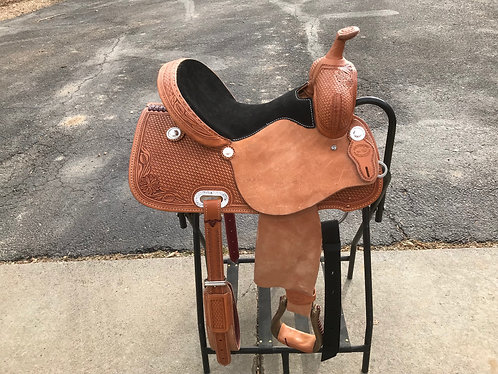 """SRS 14"""" Seat Western Saddle with Tooling and Padded Seat"""