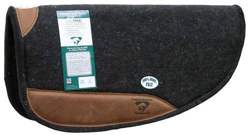 "Diamond Wool 1"" 100% Wool Felt 30x30 Round Saddle Pad with Wear Leathers"
