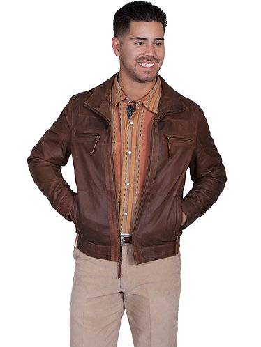 Scully Brown Featherlite Lambskin Zip Front Jacket