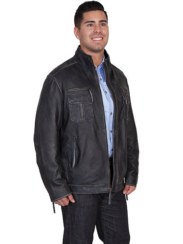 Scully Charcoal Lambskin Zip Front Jacket
