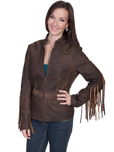 Scully Ranch Leather Jacket with Long Fringe Sleeves