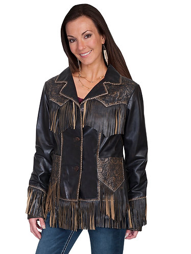 Scully  Tooled Fringe Western Jacket