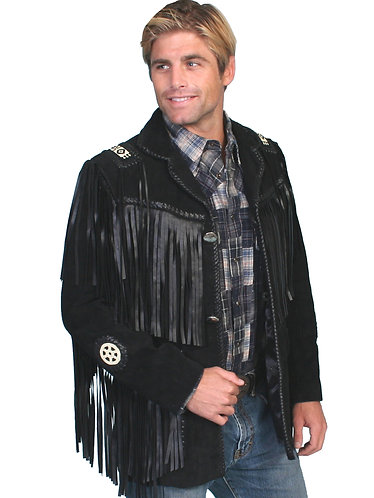 Scully Black Boar Suede Handlaced Bead Trim Coat