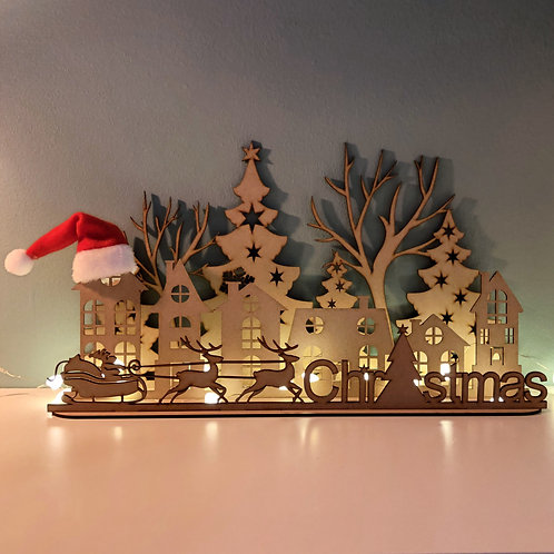 Houten decoratie kerst straatje