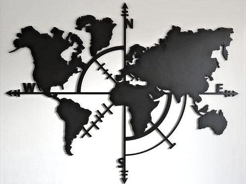 Wereldkaart met kompas zwart