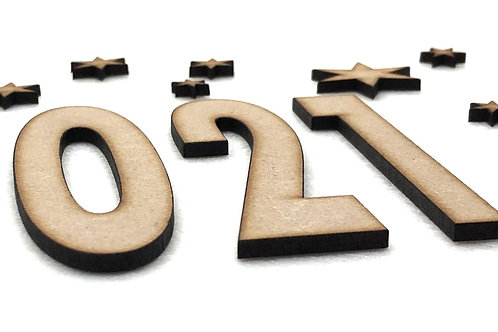 Houten letters en cijfers 3x
