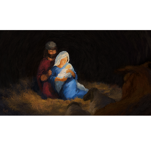 The Birth of Jesus: Digital Art for Video Display