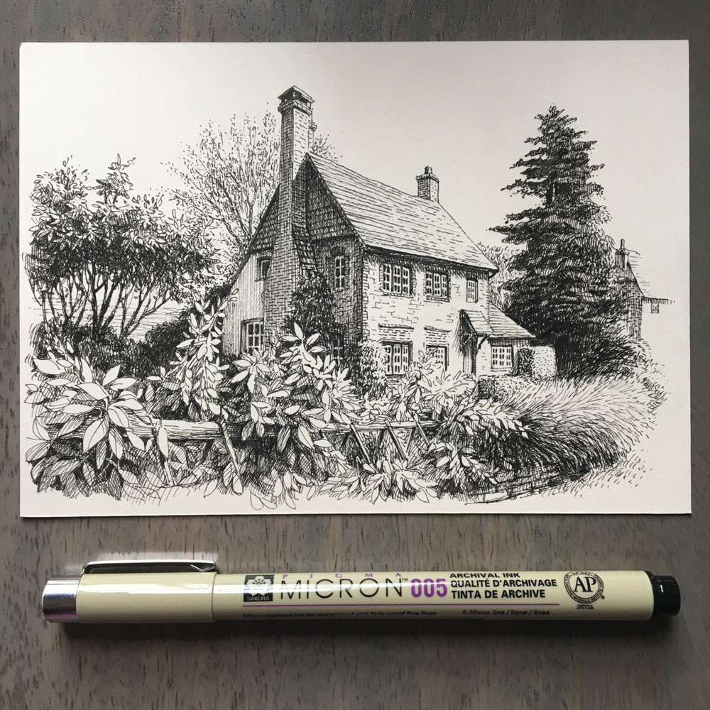 ink drawing on paper of a house surrounded by vegetation