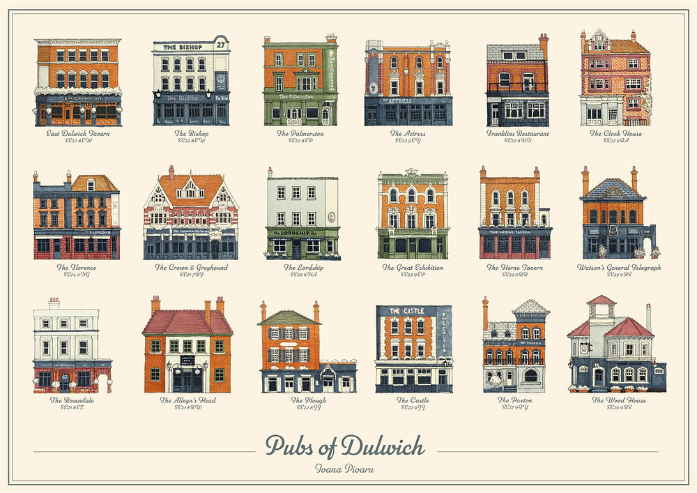 Poster showing thumbnail illustrations of Dulwich Pubs, made by Ioana Pioaru.