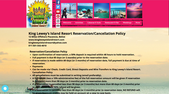 King Leweys Island Resort Webpage