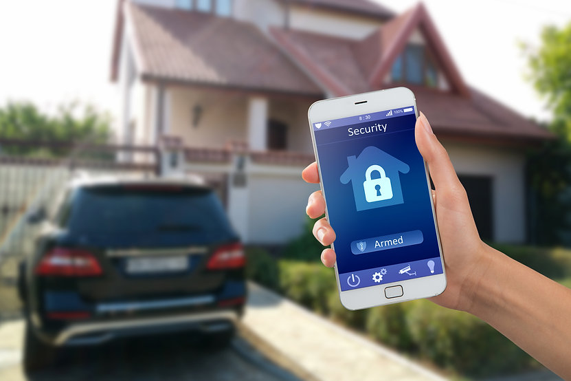 Smartphone with home security app in a h