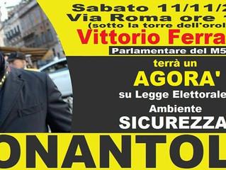MOVIMENTO 5 STELLE NONANTOLA BANCHETTO CON VITTORIO FERRARESI