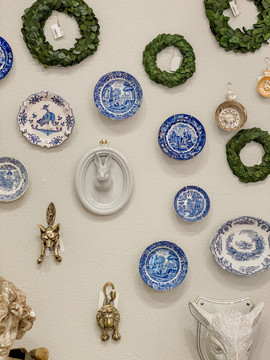Antique Blue & White Dish Wall