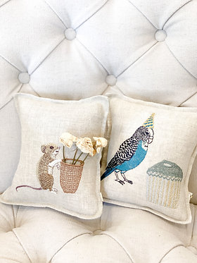 Embroidered Pocket Pillow