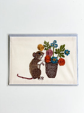 Embroidered Card - Mouse with Flowers