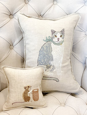 Embroidered Fancy Cat Pillow