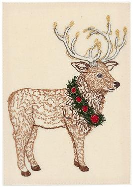 Card - Elk with Christmas Wreath