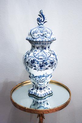 Antique Delft Lidded Urn