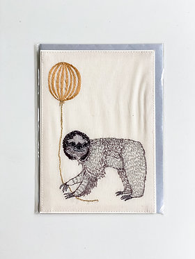 Embroidered Card - Party Sloth