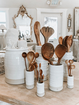 Wooden Spoons in Farmhouse Pottery