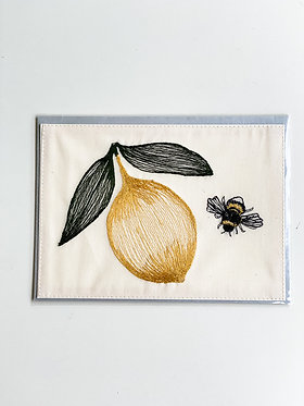 Embroidered Card - Lemon & Bee