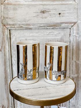 Large Gold Striped Vase
