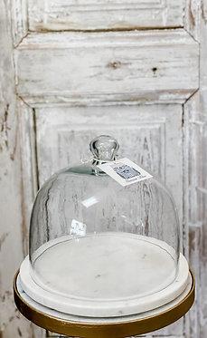 White Marble & Glass Cloche