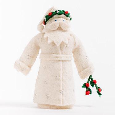 Ornament - White Mistletoe Father Christmas