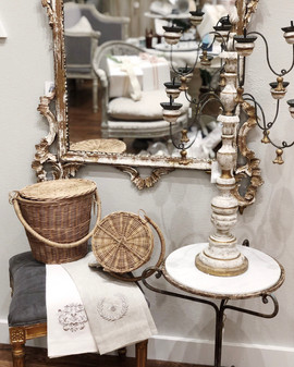 Apple Baskets, Tea Towels, Rustic side Table, & Candlestick