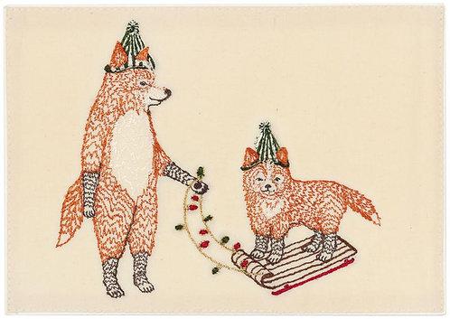 Card - Christmas Fox on Sled