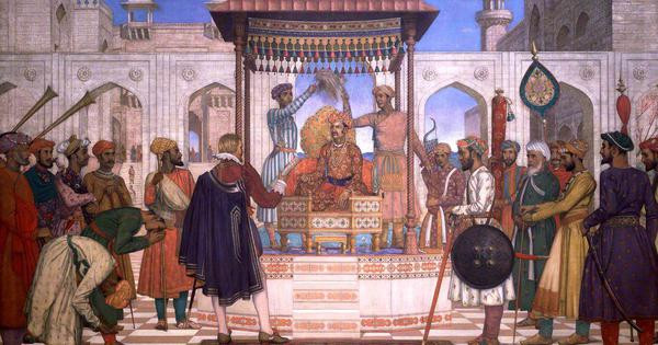 The painting shows the English politician and diplomat Sir Thomas Roe MP (1581-1644) being received by the Mughal Emperor Jahangir in 1616.