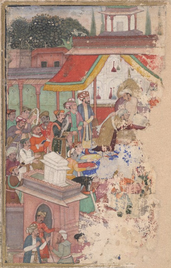 Jahangir inviting a courtier with a robe of honour watched by Sir Thomas Roe, English ambassador to the court of Jahangir at Agra from 1615–18