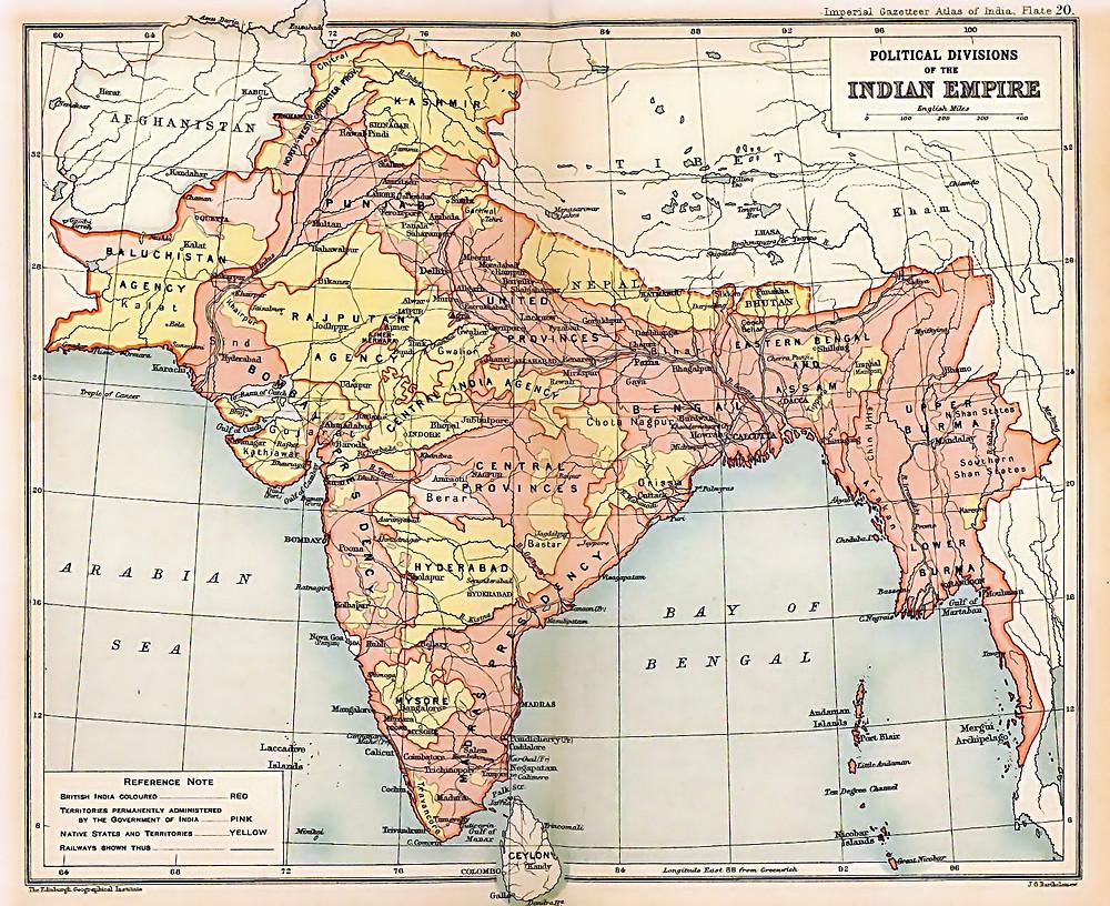 1909 Map of British India