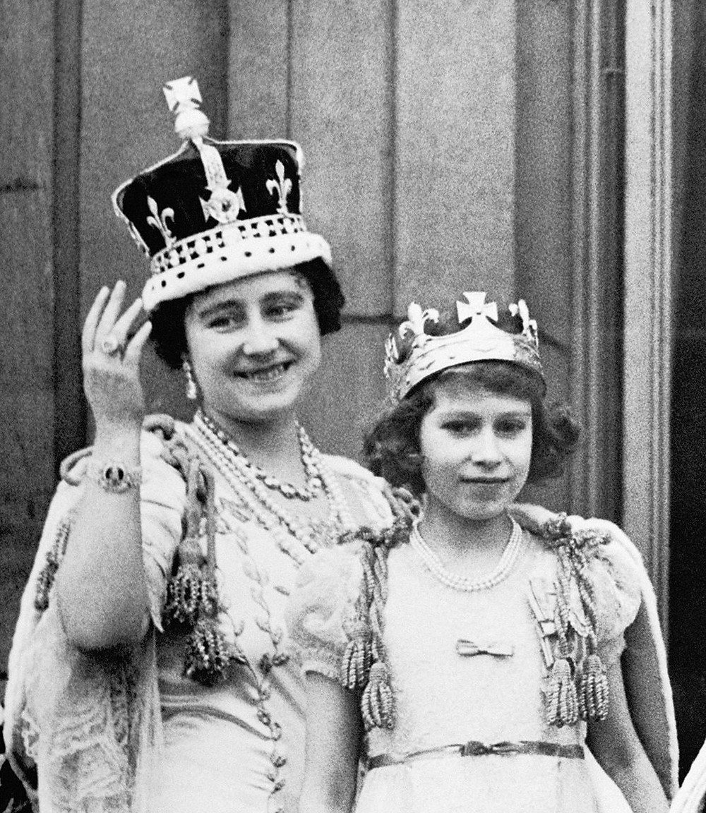 The Queen Mother wearing her crown for George VI's coronation, with her oldest daughter, Princess Elizabeth (now Elizabeth II)