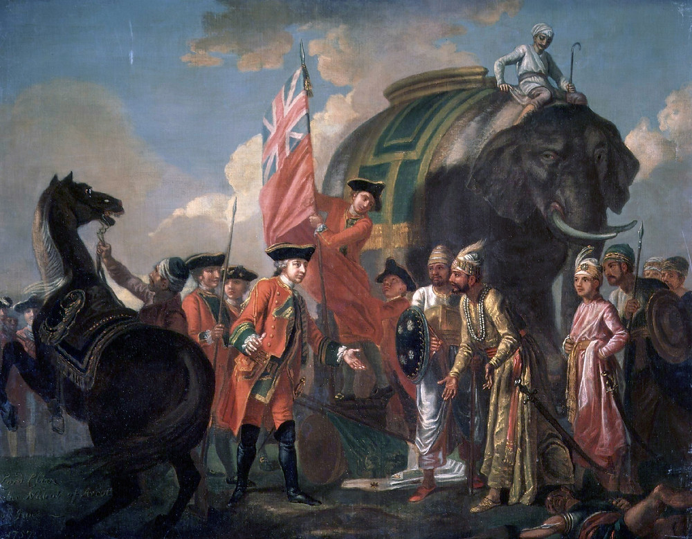 An oil-on-canvas painting depicting the meeting of Mir Jafar and Robert Clive after the Battle of Plassey by Francis Hayman