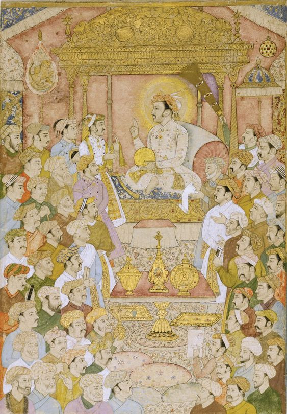 ahangir enthroned, with courtiers in attendance,Mughal, probably Lucknow, late 18th-early 19th century