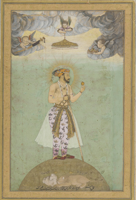 Mughal Emperor Shah Jahan standing, carrying a lily and a firangi sword as a symbol of martial power.