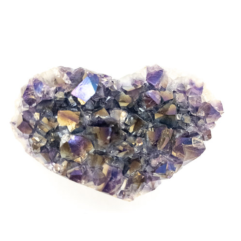 Large Polished Grade a Amethyst Druzy Heart With Angel Aura