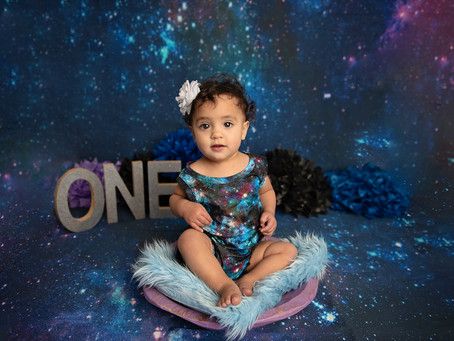 Out of this World! | Happy First Birthday Blair | Galaxy Cake Smash | El Paso - Ft. Bliss, Tx