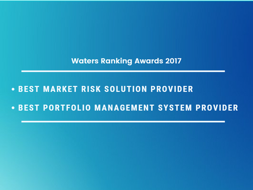 Waters Rankings 2017: Best Market Risk Solution Provider & Best Portfolio Management System Provider