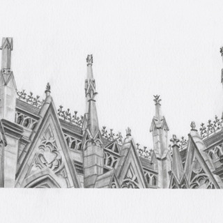 Graphite drawing of St Patrick's Cathedral NYC
