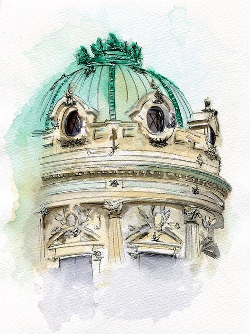 """Original 7""""x9"""" Paris Opera House"""