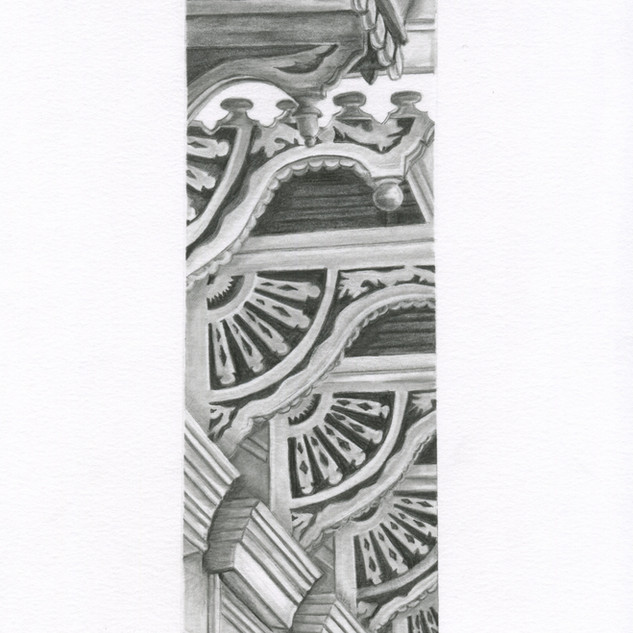 Graphite drawing of the French Quarter