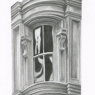 Graphite drawing of a New York City window