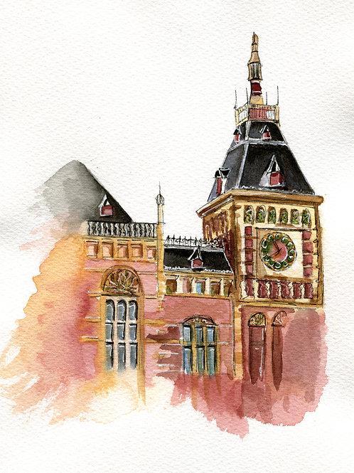 "Original 7""x9"" Amsterdam Centraal Station"