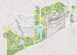南部中心地区白黒に緑