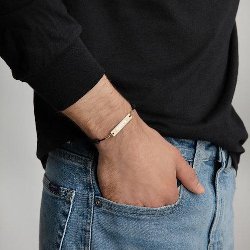Engraved Silver Bar String Bracelet